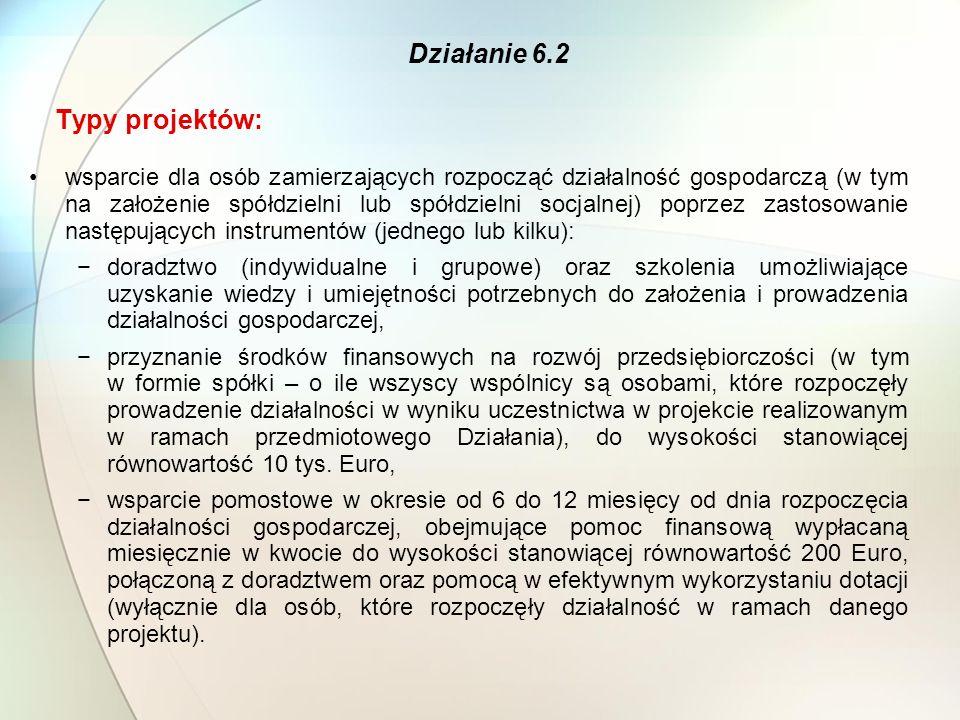 Typy projektów: wsparcie dla osób zamierzających rozpocząć działalność gospodarczą (w tym na założenie spółdzielni lub spółdzielni socjalnej) poprzez