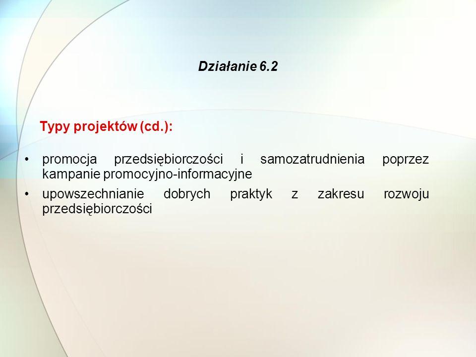 Typy projektów (cd.): promocja przedsiębiorczości i samozatrudnienia poprzez kampanie promocyjno-informacyjne upowszechnianie dobrych praktyk z zakresu rozwoju przedsiębiorczości