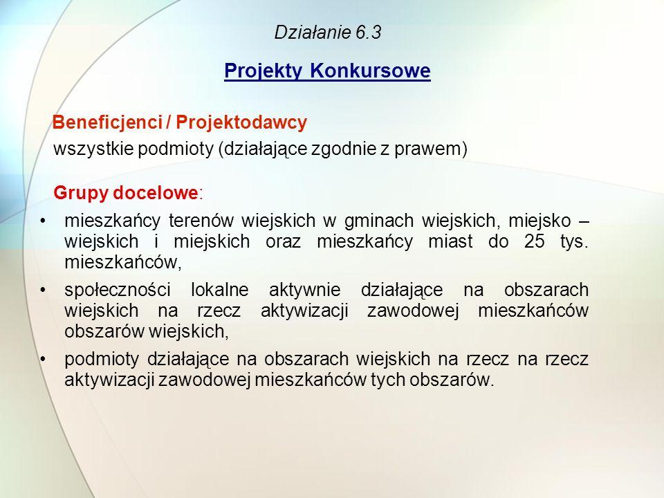 Działanie 6.3 Projekty Konkursowe Beneficjenci / Projektodawcy wszystkie podmioty (działające zgodnie z prawem) Grupy docelowe: mieszkańcy terenów wie
