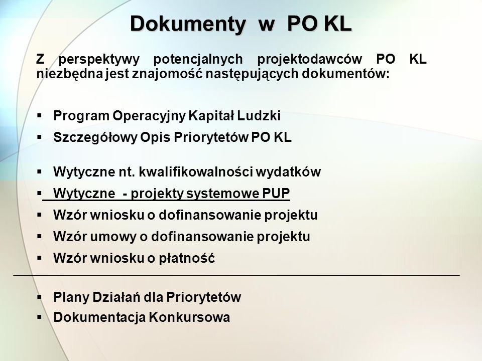 Dokumenty w PO KL Z perspektywy potencjalnych projektodawców PO KL niezbędna jest znajomość następujących dokumentów: Program Operacyjny Kapitał Ludzki Szczegółowy Opis Priorytetów PO KL Wytyczne nt.