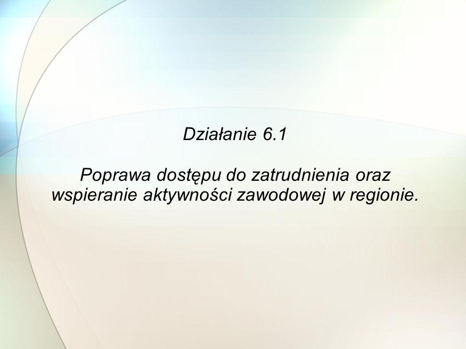 Działanie 6.1 Poprawa dostępu do zatrudnienia oraz wspieranie aktywności zawodowej w regionie.