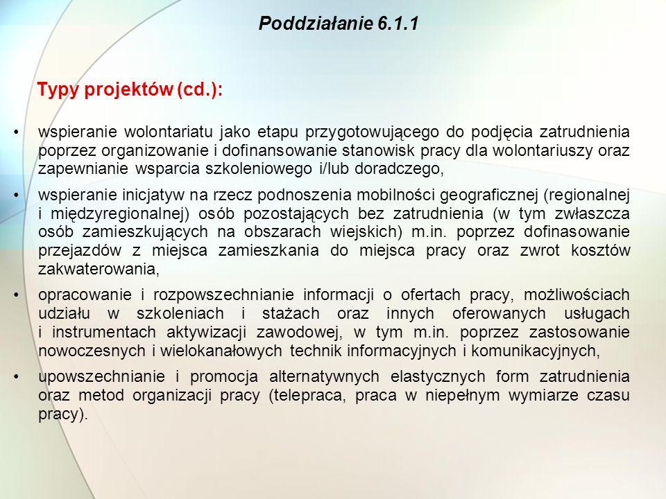 Typy projektów (cd.): wspieranie wolontariatu jako etapu przygotowującego do podjęcia zatrudnienia poprzez organizowanie i dofinansowanie stanowisk pr