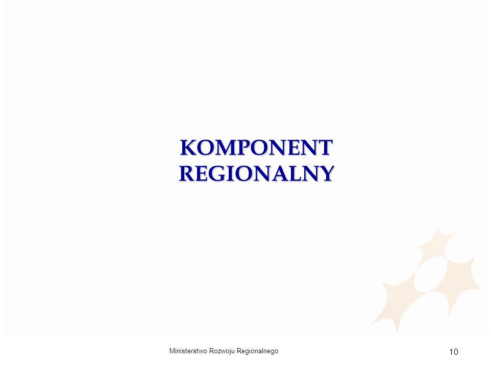 Ministerstwo Rozwoju Regionalnego 10 KOMPONENT REGIONALNY