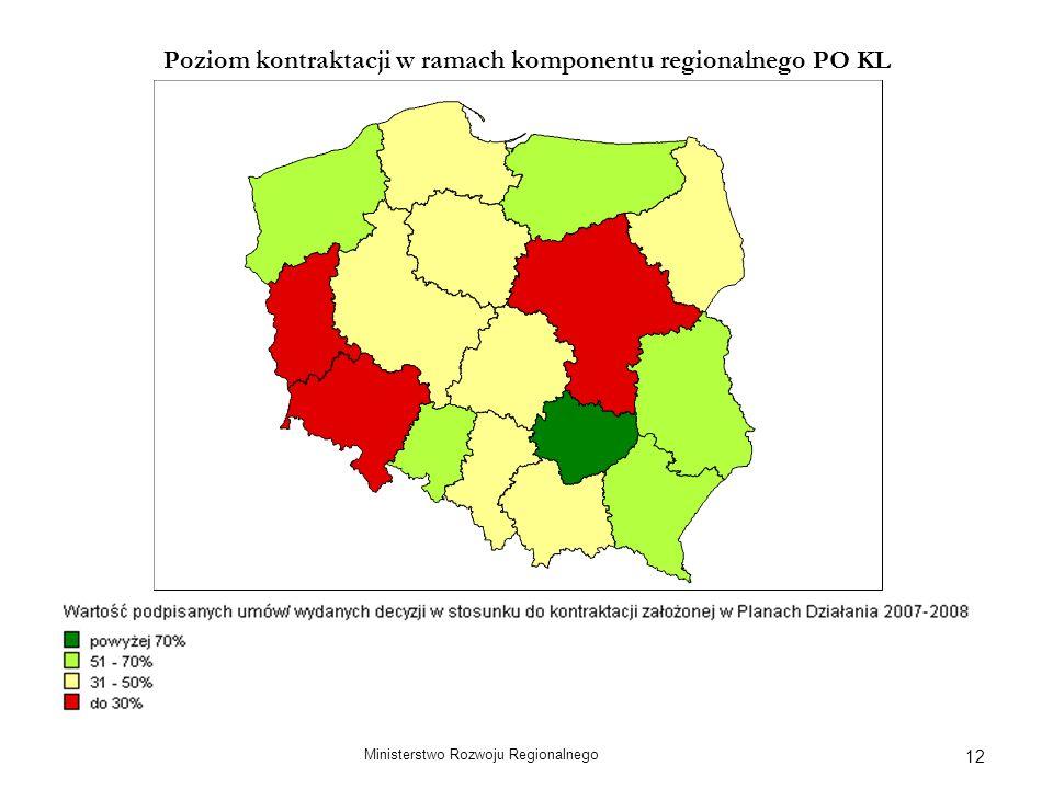 Ministerstwo Rozwoju Regionalnego 12 Poziom kontraktacji w ramach komponentu regionalnego PO KL