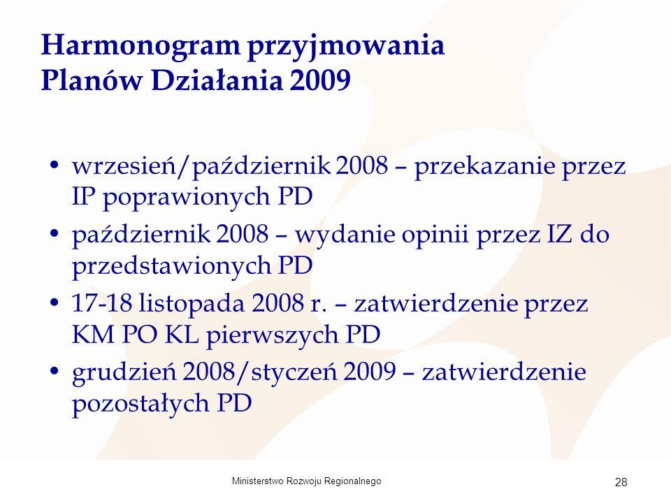 Ministerstwo Rozwoju Regionalnego 28 Harmonogram przyjmowania Planów Działania 2009 wrzesień/październik 2008 – przekazanie przez IP poprawionych PD październik 2008 – wydanie opinii przez IZ do przedstawionych PD 17-18 listopada 2008 r.