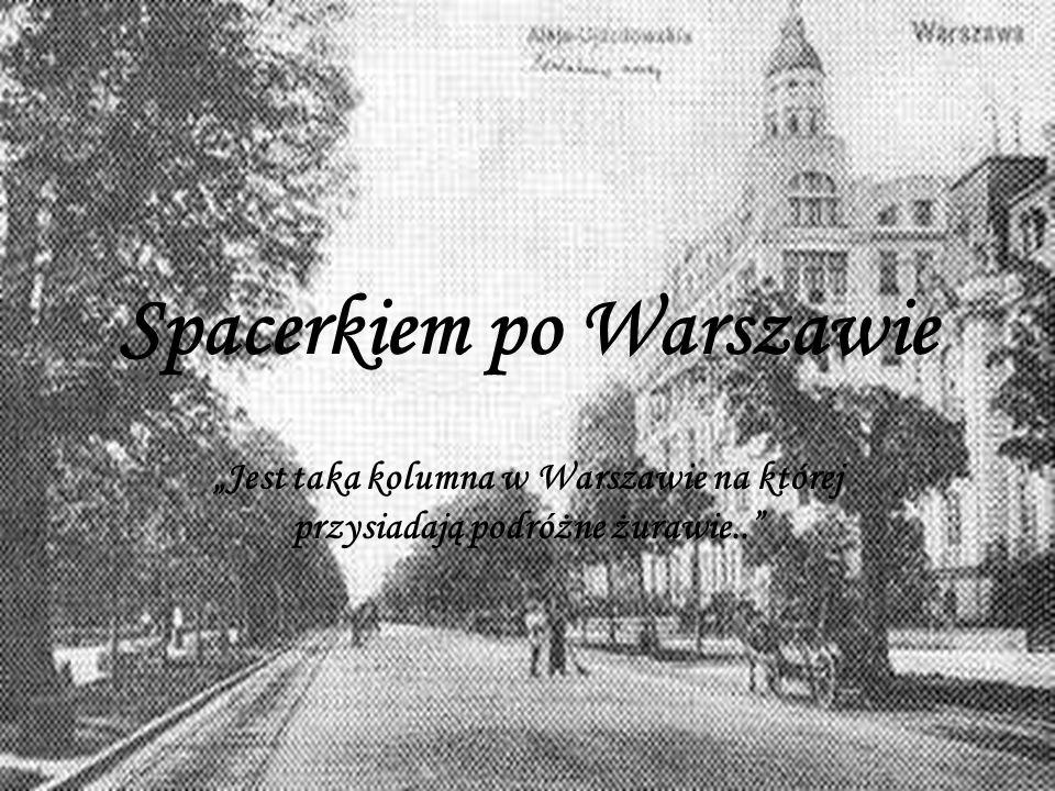 Spacerkiem po Warszawie Jest taka kolumna w Warszawie na której przysiadają podróżne żurawie..