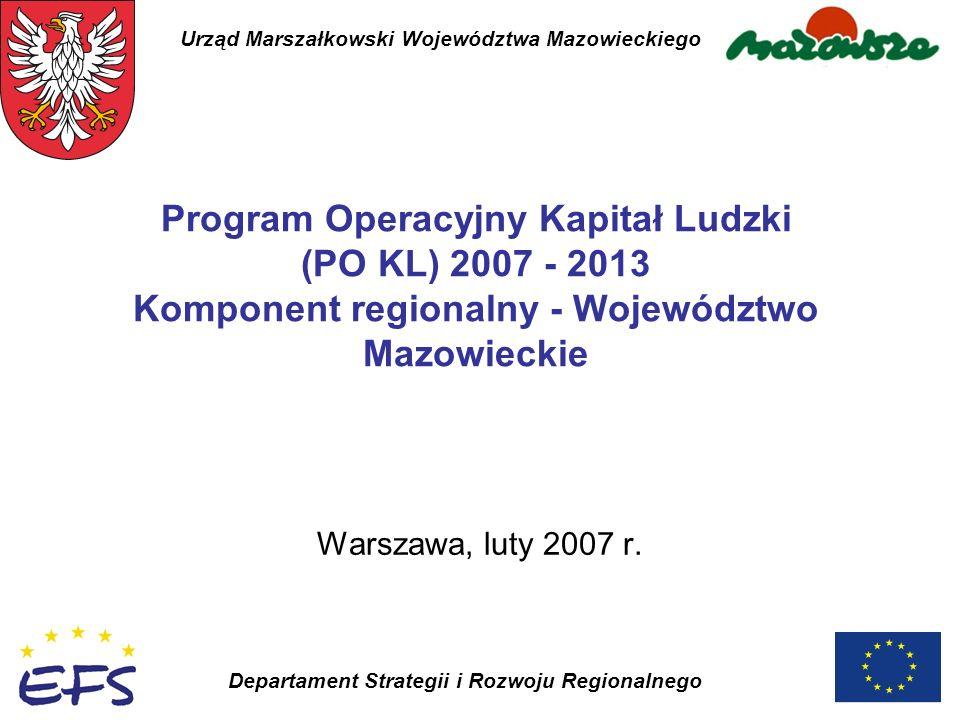 Urząd Marszałkowski Województwa Mazowieckiego Departament Strategii i Rozwoju Regionalnego Program Operacyjny Kapitał Ludzki (PO KL) 2007 - 2013 Kompo