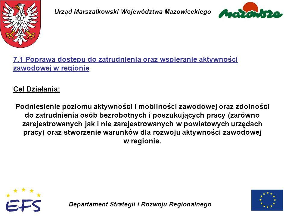 Urząd Marszałkowski Województwa Mazowieckiego Departament Strategii i Rozwoju Regionalnego 7.1 Poprawa dostępu do zatrudnienia oraz wspieranie aktywno