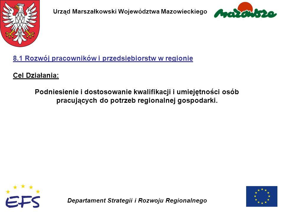 Urząd Marszałkowski Województwa Mazowieckiego Departament Strategii i Rozwoju Regionalnego Podniesienie i dostosowanie kwalifikacji i umiejętności osó