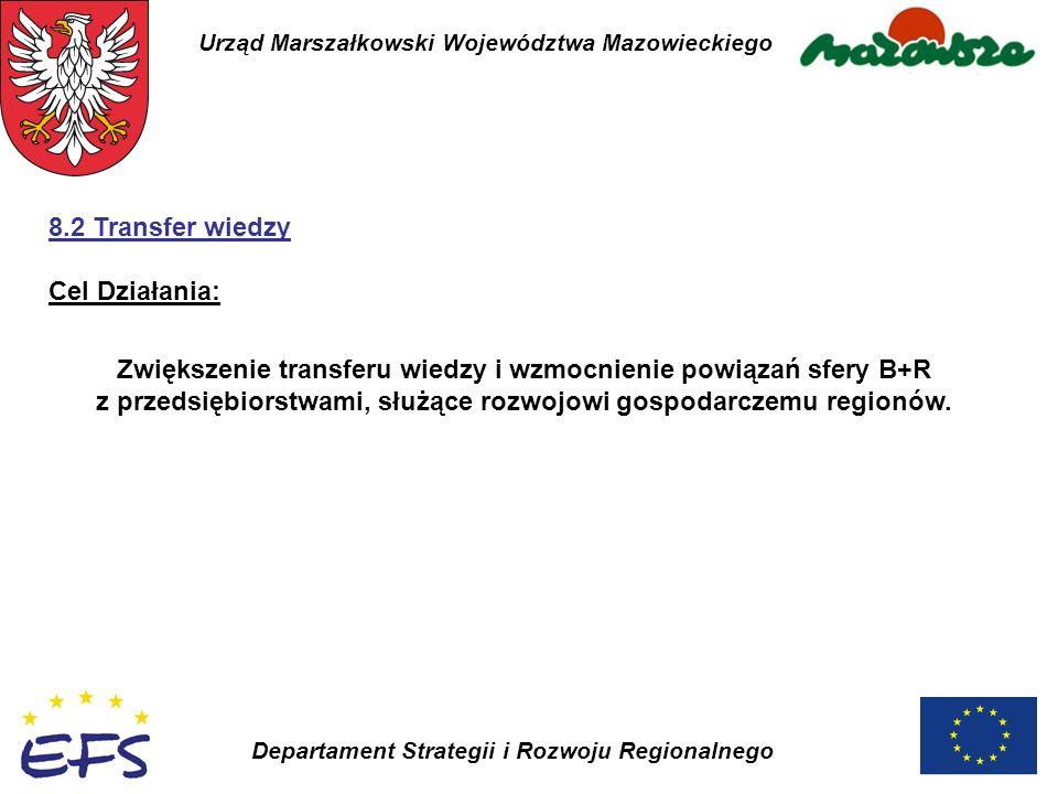 Urząd Marszałkowski Województwa Mazowieckiego Departament Strategii i Rozwoju Regionalnego Zwiększenie transferu wiedzy i wzmocnienie powiązań sfery B