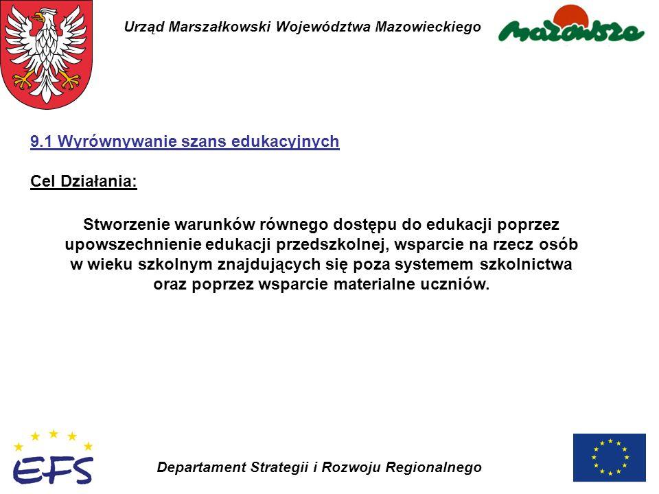 Urząd Marszałkowski Województwa Mazowieckiego Departament Strategii i Rozwoju Regionalnego Stworzenie warunków równego dostępu do edukacji poprzez upo
