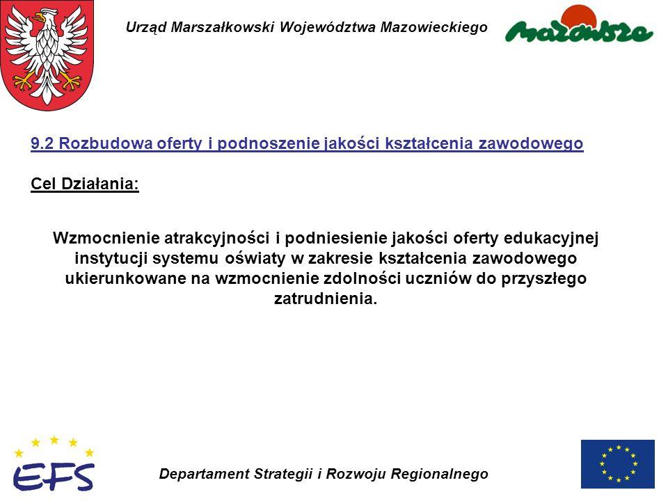 Urząd Marszałkowski Województwa Mazowieckiego Departament Strategii i Rozwoju Regionalnego Wzmocnienie atrakcyjności i podniesienie jakości oferty edu