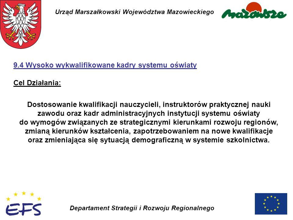 Urząd Marszałkowski Województwa Mazowieckiego Departament Strategii i Rozwoju Regionalnego 9.4 Wysoko wykwalifikowane kadry systemu oświaty Cel Działa
