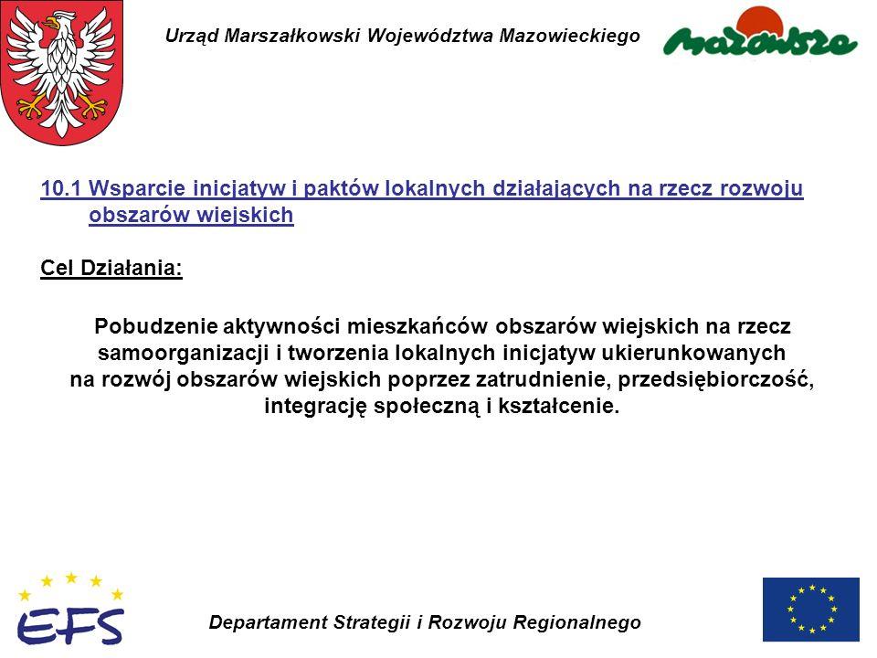Urząd Marszałkowski Województwa Mazowieckiego Departament Strategii i Rozwoju Regionalnego Pobudzenie aktywności mieszkańców obszarów wiejskich na rze