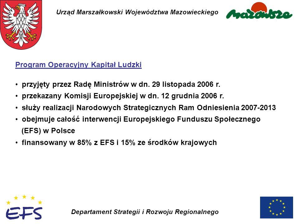 Urząd Marszałkowski Województwa Mazowieckiego Departament Strategii i Rozwoju Regionalnego Program Operacyjny Kapitał Ludzki przyjęty przez Radę Minis