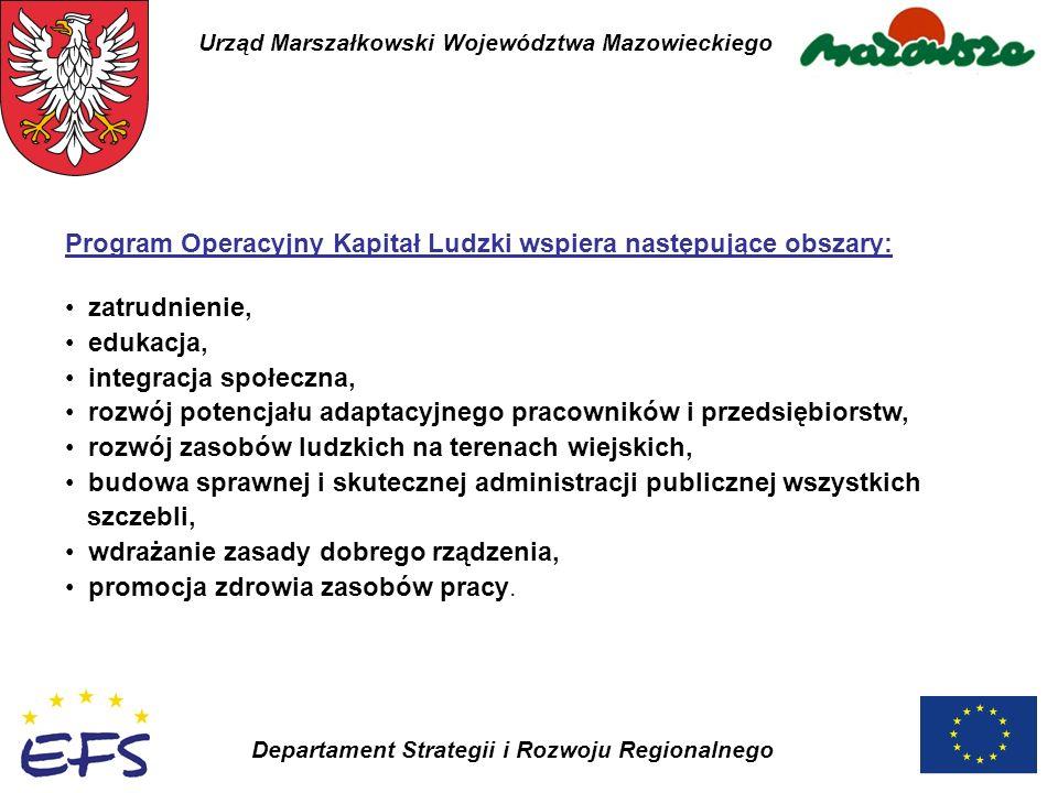 Urząd Marszałkowski Województwa Mazowieckiego Departament Strategii i Rozwoju Regionalnego Program Operacyjny Kapitał Ludzki wspiera następujące obsza