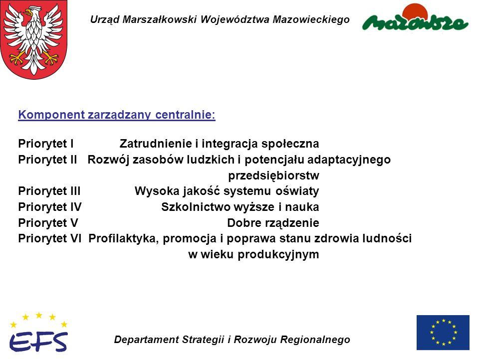 Urząd Marszałkowski Województwa Mazowieckiego Departament Strategii i Rozwoju Regionalnego Komponent zarządzany centralnie: Priorytet I Zatrudnienie i