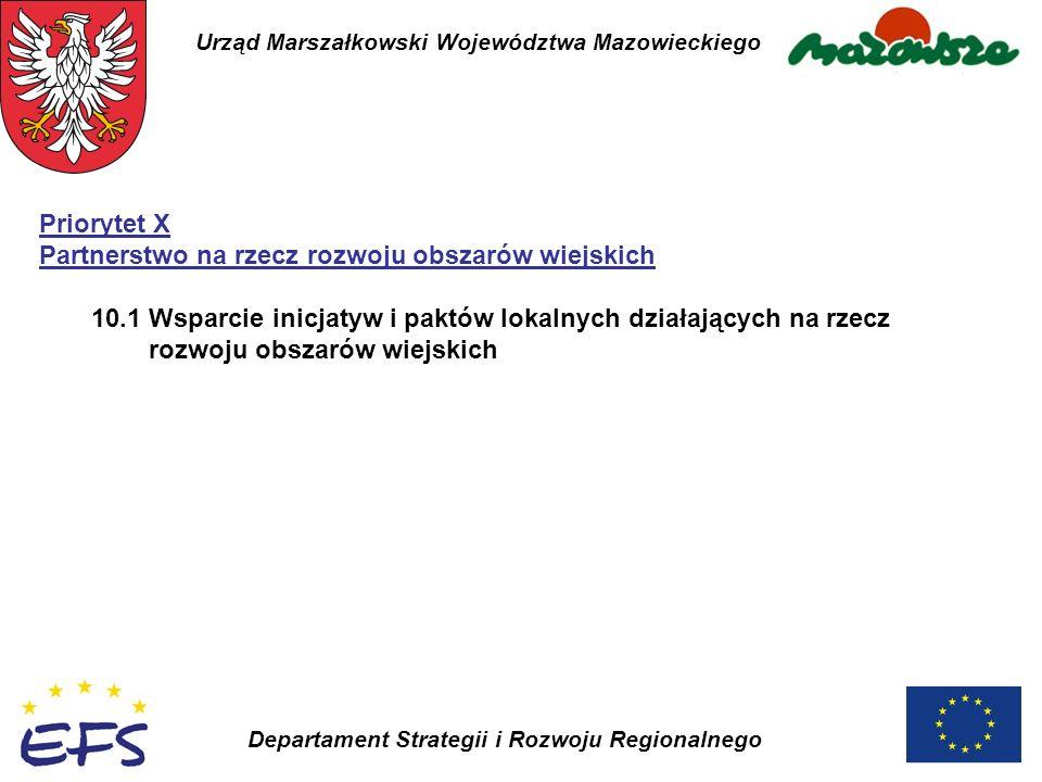 Urząd Marszałkowski Województwa Mazowieckiego Departament Strategii i Rozwoju Regionalnego Priorytet X Partnerstwo na rzecz rozwoju obszarów wiejskich