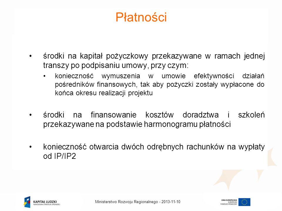 2013-11-10Ministerstwo Rozwoju Regionalnego - Płatności środki na kapitał pożyczkowy przekazywane w ramach jednej transzy po podpisaniu umowy, przy cz