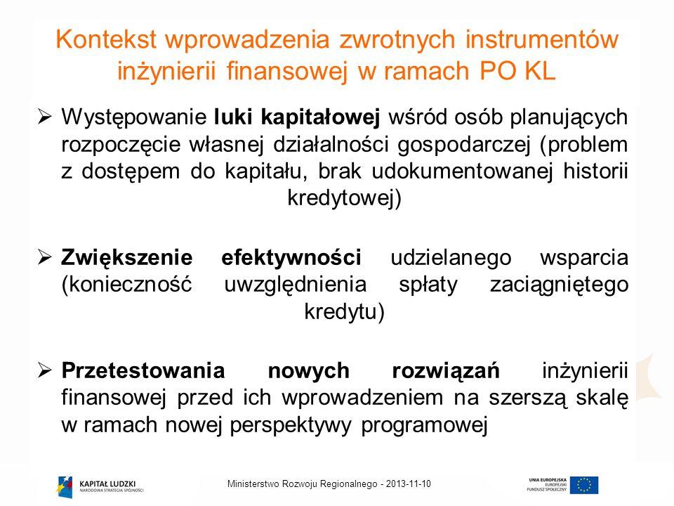 2013-11-10Ministerstwo Rozwoju Regionalnego - Kontekst wprowadzenia zwrotnych instrumentów inżynierii finansowej w ramach PO KL Występowanie luki kapi