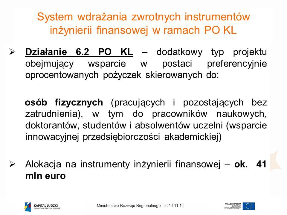 2013-11-10Ministerstwo Rozwoju Regionalnego - System wdrażania zwrotnych instrumentów inżynierii finansowej w ramach PO KL Działanie 6.2 PO KL – dodat