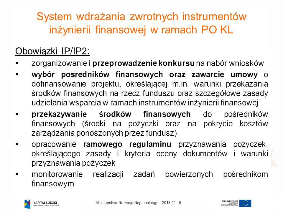 2013-11-10Ministerstwo Rozwoju Regionalnego - System wdrażania zwrotnych instrumentów inżynierii finansowej w ramach PO KL Obowiązki IP/IP2: zorganizo