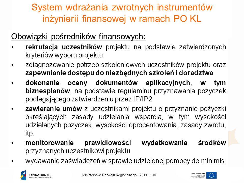 2013-11-10Ministerstwo Rozwoju Regionalnego - System wdrażania zwrotnych instrumentów inżynierii finansowej w ramach PO KL Obowiązki pośredników finan