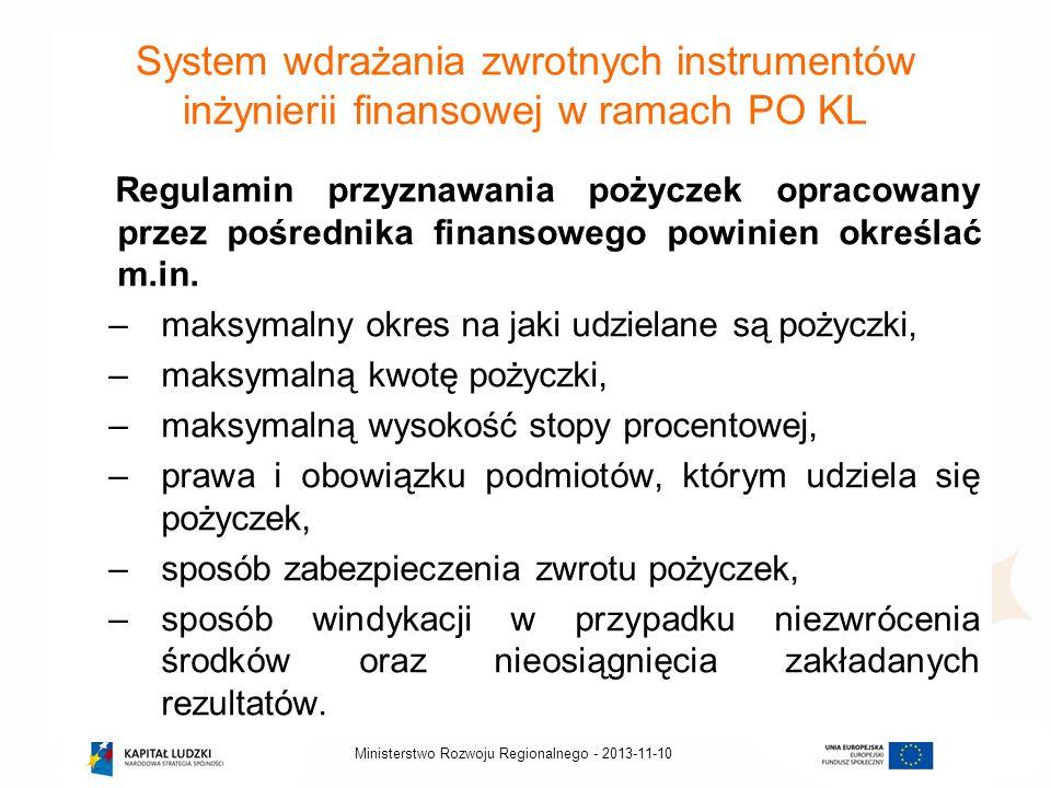 2013-11-10Ministerstwo Rozwoju Regionalnego - System wdrażania zwrotnych instrumentów inżynierii finansowej w ramach PO KL Regulamin przyznawania poży