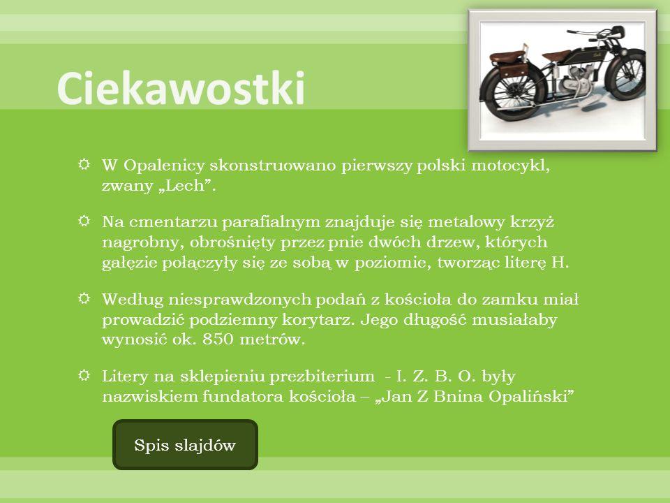 W Opalenicy skonstruowano pierwszy polski motocykl, zwany Lech. Na cmentarzu parafialnym znajduje się metalowy krzyż nagrobny, obrośnięty przez pnie d
