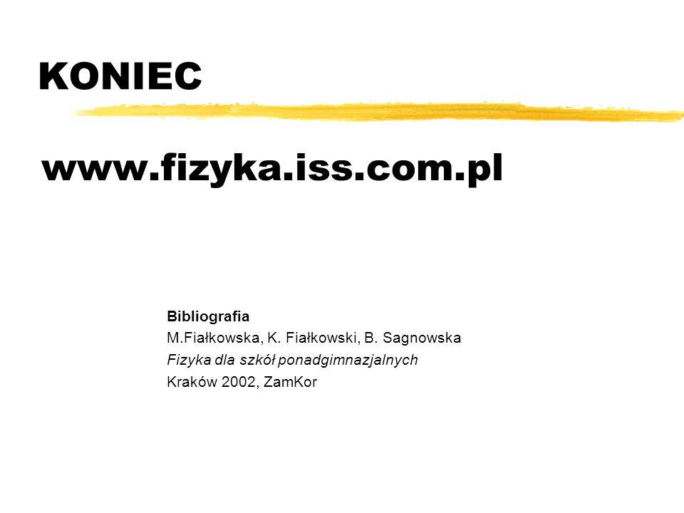 KONIEC www.fizyka.iss.com.pl Bibliografia M.Fiałkowska, K. Fiałkowski, B. Sagnowska Fizyka dla szkół ponadgimnazjalnych Kraków 2002, ZamKor
