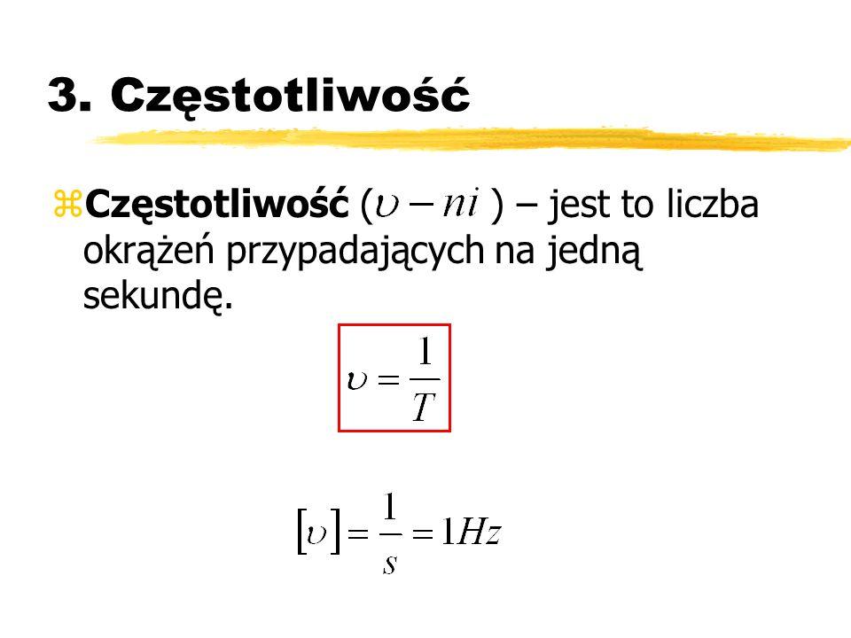 3. Częstotliwość zCzęstotliwość ( ) – jest to liczba okrążeń przypadających na jedną sekundę.