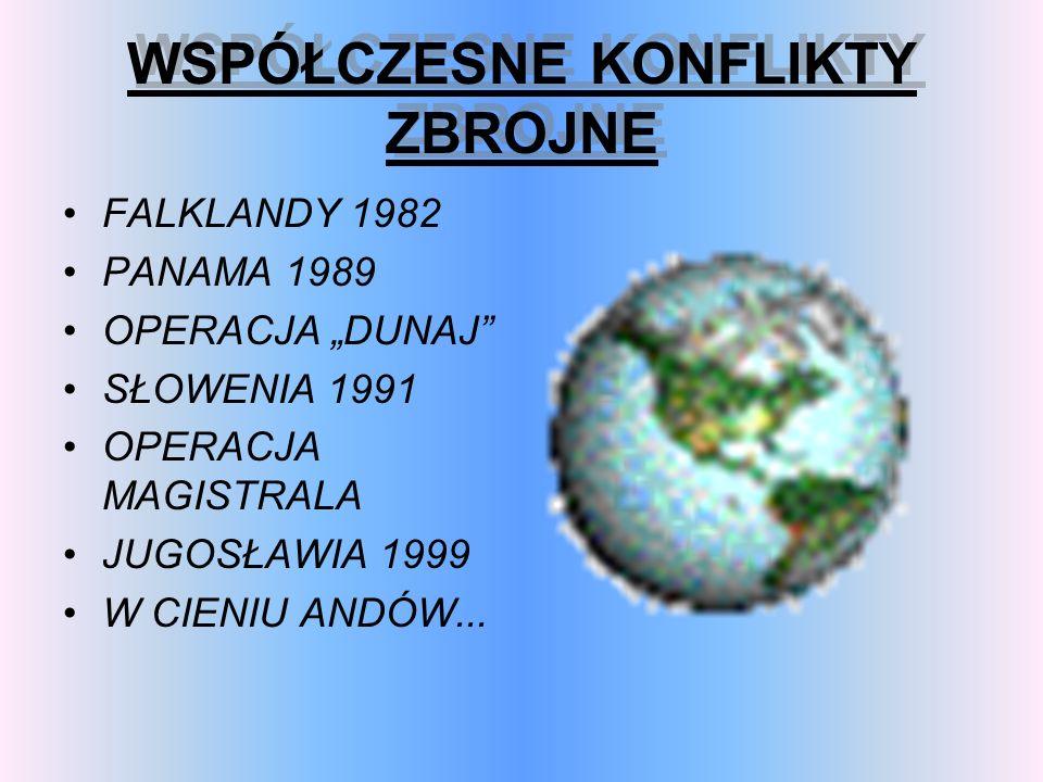 WSPÓŁCZESNE KONFLIKTY ZBROJNE WSPÓŁCZESNE KONFLIKTY ZBROJNE FALKLANDY 1982 PANAMA 1989 OPERACJA DUNAJ SŁOWENIA 1991 OPERACJA MAGISTRALA JUGOSŁAWIA 199