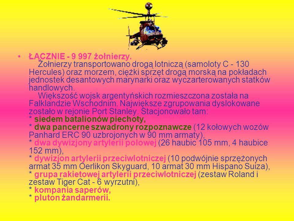 ŁĄCZNIE - 9 997 żołnierzy. Żołnierzy transportowano drogą lotniczą (samoloty C - 130 Hercules) oraz morzem, ciężki sprzęt drogą morską na pokładach je