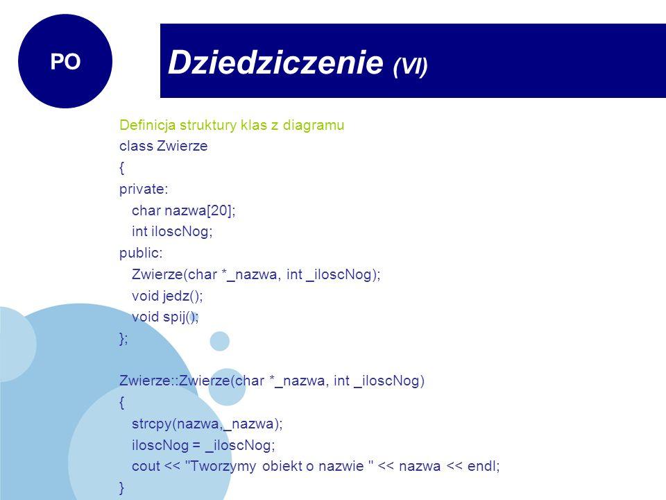 Definicja struktury klas z diagramu class Zwierze { private: char nazwa[20]; int iloscNog; public: Zwierze(char *_nazwa, int _iloscNog); void jedz();
