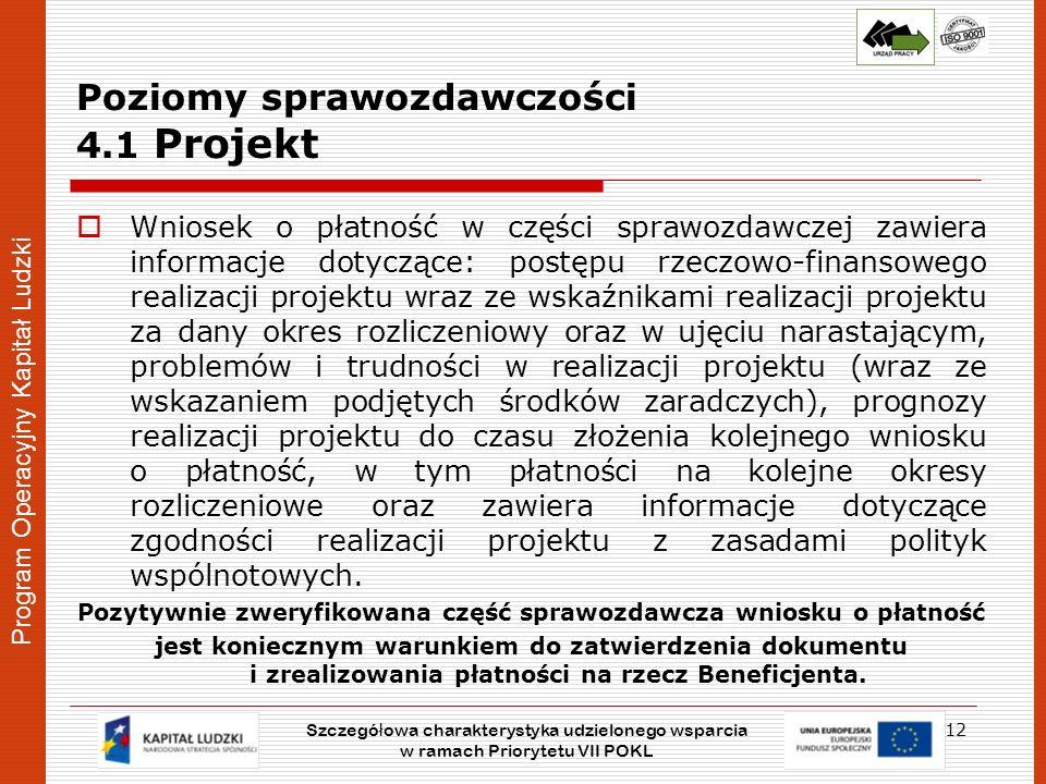Program Operacyjny Kapitał Ludzki Poziomy sprawozdawczości 4.1 Projekt Wniosek o płatność w części sprawozdawczej zawiera informacje dotyczące: postęp