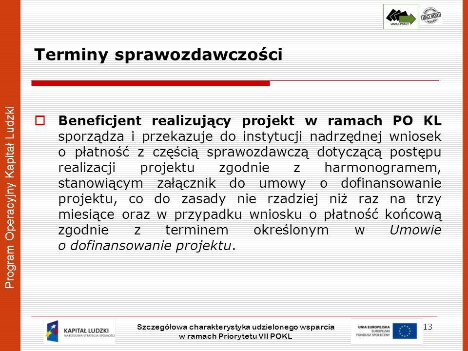 Program Operacyjny Kapitał Ludzki Terminy sprawozdawczości Beneficjent realizujący projekt w ramach PO KL sporządza i przekazuje do instytucji nadrzęd