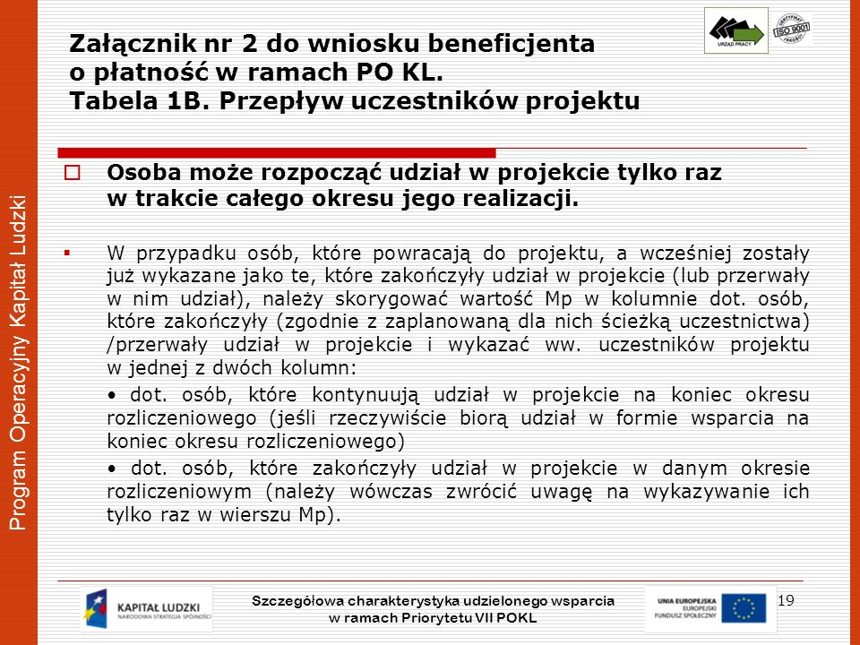 Program Operacyjny Kapitał Ludzki Załącznik nr 2 do wniosku beneficjenta o płatność w ramach PO KL. Tabela 1B. Przepływ uczestników projektu Osoba moż