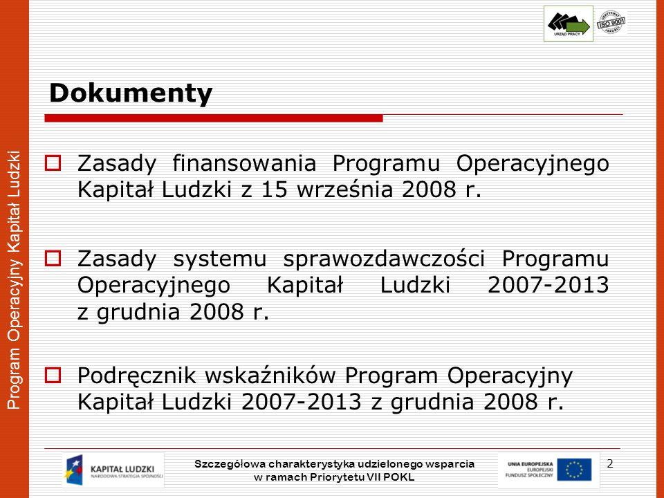 Program Operacyjny Kapitał Ludzki Dokumenty Zasady finansowania Programu Operacyjnego Kapitał Ludzki z 15 września 2008 r. Zasady systemu sprawozdawcz