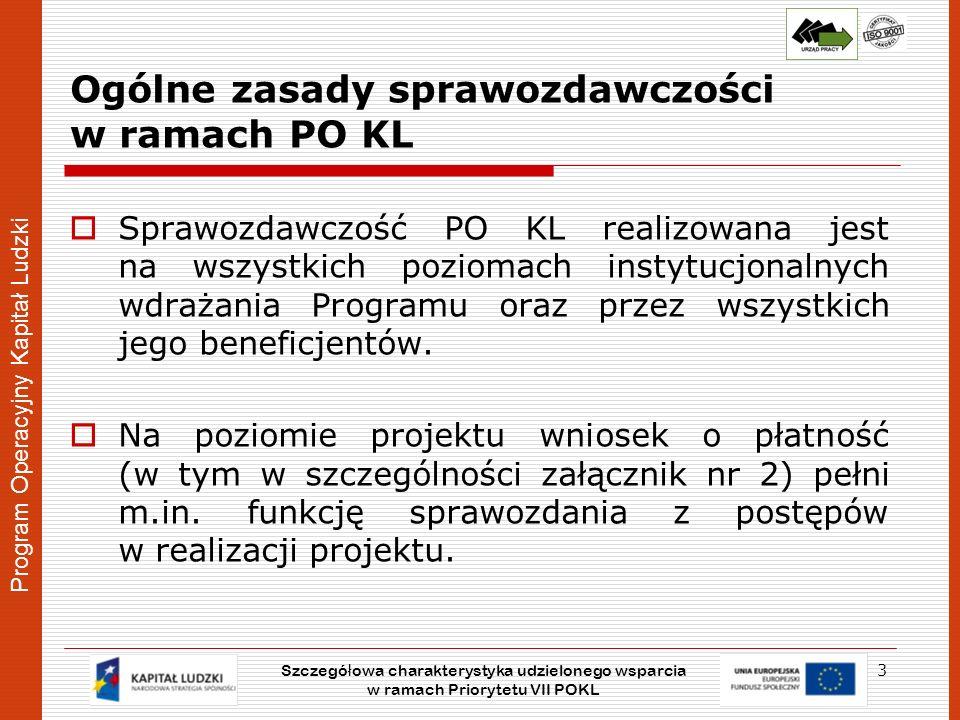 Program Operacyjny Kapitał Ludzki Ogólne zasady sprawozdawczości w ramach PO KL Wnioski o płatność składane przez beneficjentów są podstawą do sporządzenia sprawozdań okresowych (półrocze kalendarzowe), rocznych (rok kalendarzowy) oraz końcowych (po zakończeniu realizacji programu) przekazywanych przez Wojewódzki Urząd Pracy w Lublinie pełniący rolę Instytucji Wdrażającej (Pośredniczącej II stopnia) do Urzędu Marszałkowskiego Województwa Lubelskiego (Instytucji Pośredniczącej).