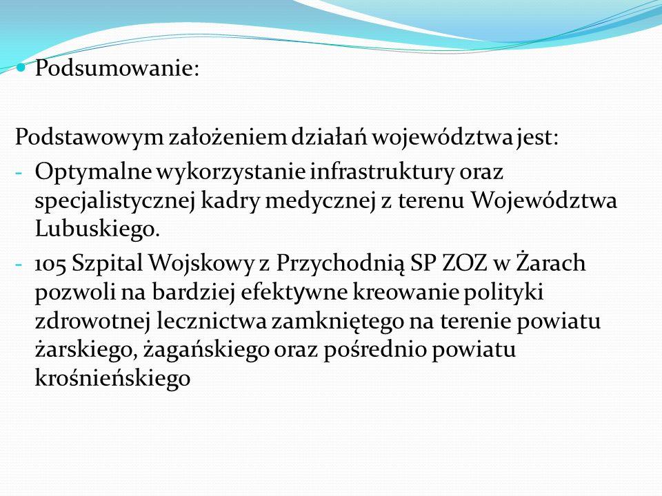 Podsumowanie: Podstawowym założeniem działań województwa jest: - Optymalne wykorzystanie infrastruktury oraz specjalistycznej kadry medycznej z terenu Województwa Lubuskiego.