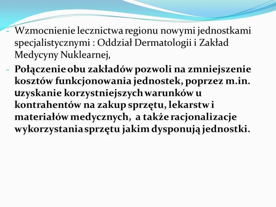 - Wzmocnienie lecznictwa regionu nowymi jednostkami specjalistycznymi : Oddział Dermatologii i Zakład Medycyny Nuklearnej, - Połączenie obu zakładów pozwoli na zmniejszenie kosztów funkcjonowania jednostek, poprzez m.in.