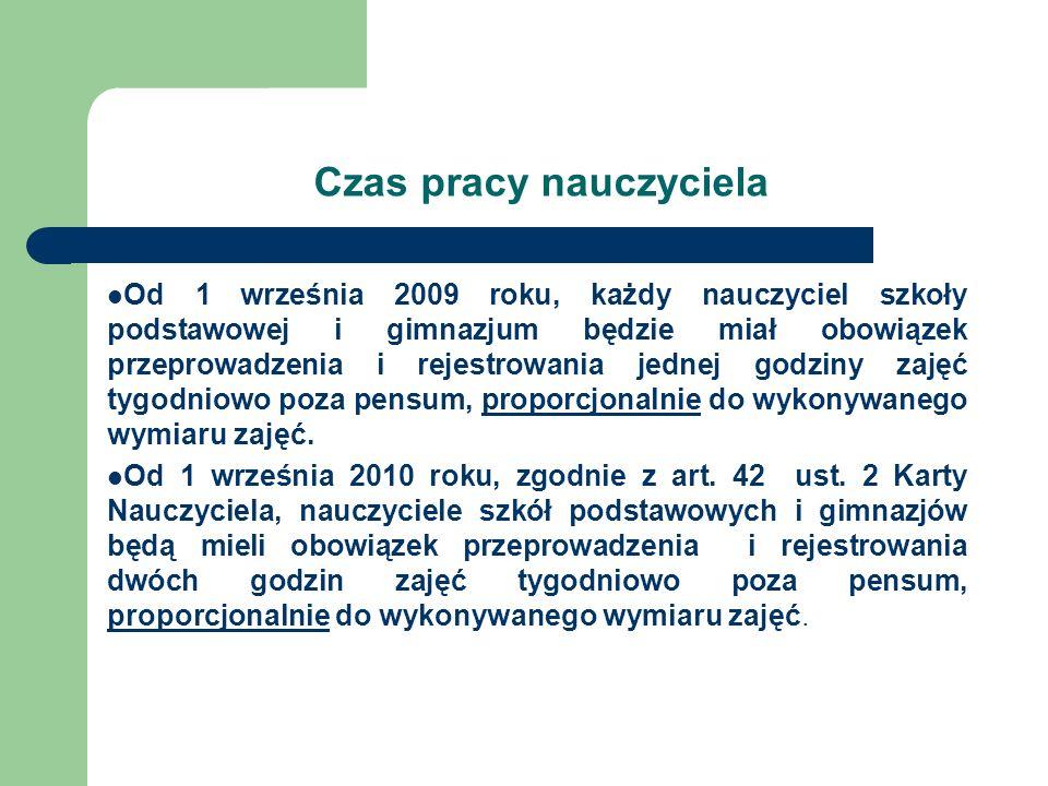 Czas pracy nauczyciela Od 1 września 2009 roku, każdy nauczyciel szkoły podstawowej i gimnazjum będzie miał obowiązek przeprowadzenia i rejestrowania