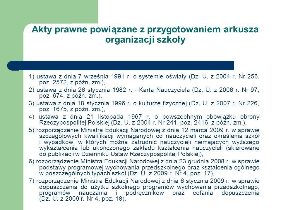 Akty prawne powiązane z przygotowaniem arkusza organizacji szkoły 1) ustawa z dnia 7 września 1991 r. o systemie oświaty (Dz. U. z 2004 r. Nr 256, poz