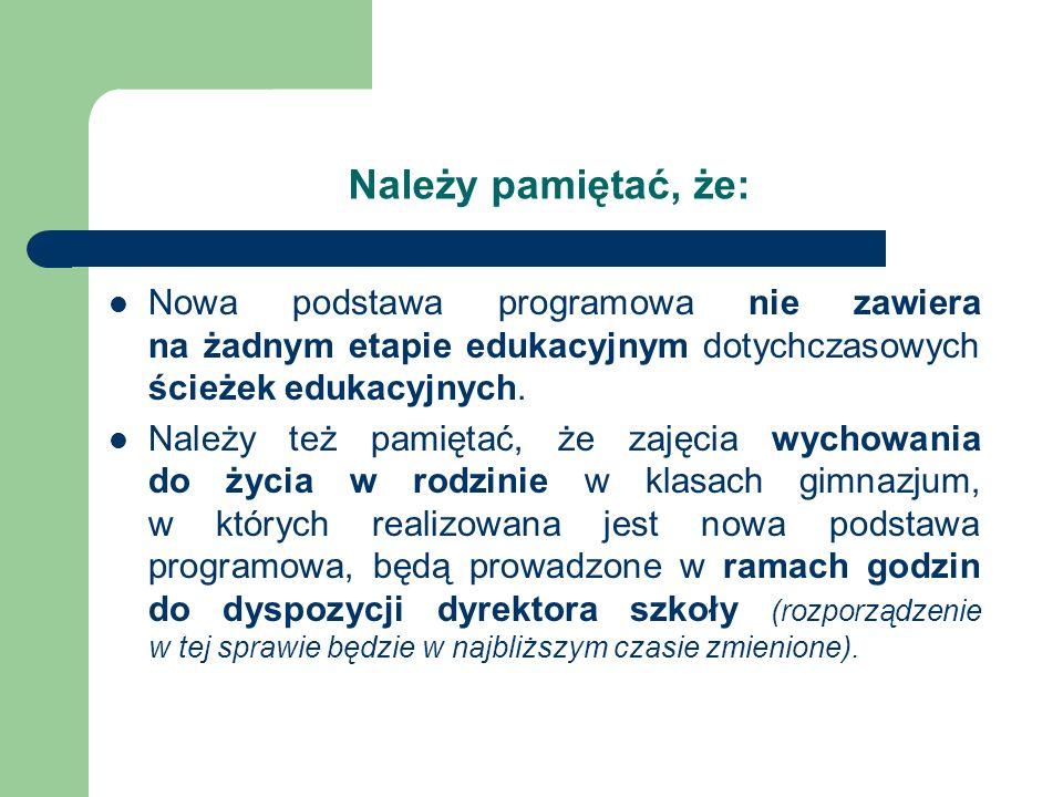 Należy pamiętać, że: Nowa podstawa programowa nie zawiera na żadnym etapie edukacyjnym dotychczasowych ścieżek edukacyjnych. Należy też pamiętać, że z