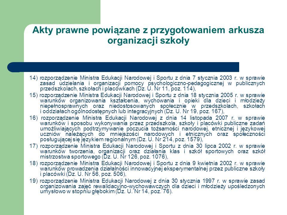 Akty prawne powiązane z przygotowaniem arkusza organizacji szkoły 14) rozporządzenie Ministra Edukacji Narodowej i Sportu z dnia 7 stycznia 2003 r. w