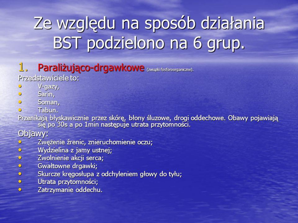 Charakterystyka BST Trwałe środki trujące /TST/ to: -V-V-V-V- gazy, -S-S-S-Sarin, -S-S-S-Soman, -T-T-T-Tabun, -i-i-i-iperyt, -l-l-l-luizyt, Nietrwałe
