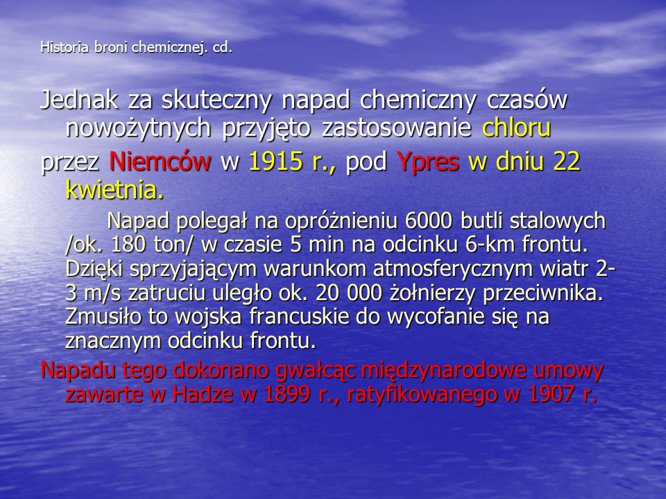 Historia broni chemicznej. Broń chemiczna stosowana była od zawsze, w zależności od pomysłowości dowódców. Przykładem zastosowania środków bojowych mo