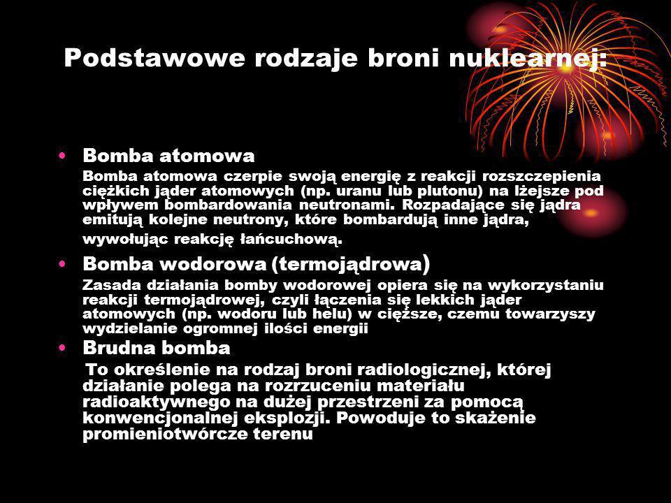Podstawowe rodzaje broni nuklearnej: Bomba atomowa Bomba atomowa czerpie swoją energię z reakcji rozszczepienia ciężkich jąder atomowych (np. uranu lu