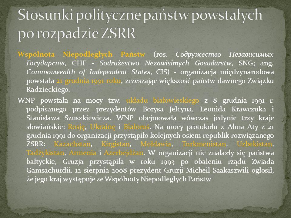 Celem WNP jest prowadzenie wspólnej polityki zagranicznej państw (ze wspólnej polityki wyłączone są kwestie obronne, uregulowane odrębnym traktatem taszkenckim z maja 1992 roku), stworzenie wspólnej przestrzeni gospodarczej, wspólnego systemu komunikacyjnego, jak również ochrona środowiska, prowadzenie wspólnej polityki migracyjnej i zwalczania przestępczości.