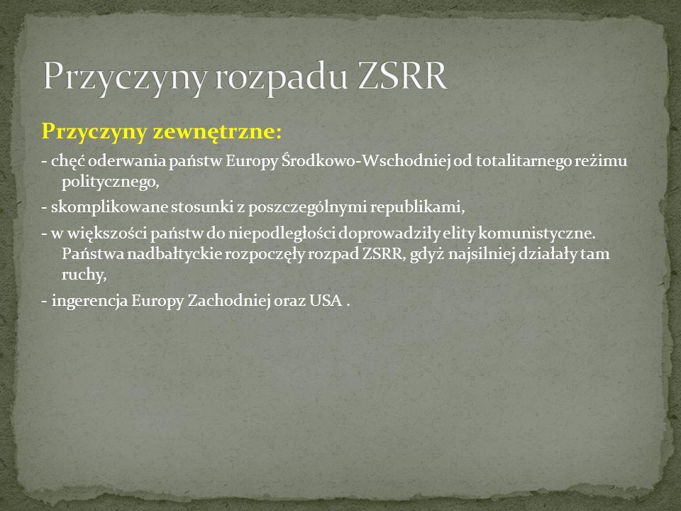 Republika związkowa ZSRR Suwerenność – ogłoszenie deklaracji Niepodległość – ogłoszenie deklaracji Uznanie niepodległości przez ZSRR Przystąpienie do WNP (lub do UE) Armenia23 sierpnia 199023 września 199126 grudnia 199121 grudnia 1991 Azerbejdżan23 września 199030 sierpnia 199126 grudnia 199121 grudnia 1991 Białoruś27 lipca 199025 sierpnia 199126 grudnia 19918 grudnia 1991 Estonia16 listopada 19882 lutego 19906 września 1991UE – 1 maja 2004 Gruzja9 marca 19909 kwietnia 199126 grudnia 19911 marca 1994 Kazachstan25 października 199016 grudnia 199126 grudnia 199121 grudnia 1991 Kirgistan12 grudnia 199031 sierpnia 199126 grudnia 199121 grudnia 1991 Litwa18 maja 198911 marca 19906 września 1991UE – 1 maja 2004 Łotwa28 lipca 19894 maja 19906 września 1991UE – 1 maja 2004 Mołdawia23 czerwca 199027 sierpnia 199126 grudnia 199121 grudnia 1991 Rosja12 czerwca 1990 prawny sukcesor ZSRR 26 grudnia 19918 grudnia 1991 Tadżykistan25 sierpnia 19909 września 199126 grudnia 199121 grudnia 1991 Turkmenistan22 sierpnia 199027 października 199126 grudnia 199121 grudnia 1991 Ukraina16 lipca 199024 sierpnia 199126 grudnia 19918 grudnia 1991 Uzbekistan20 czerwca 19901 września 199126 grudnia 199121 grudnia 1991